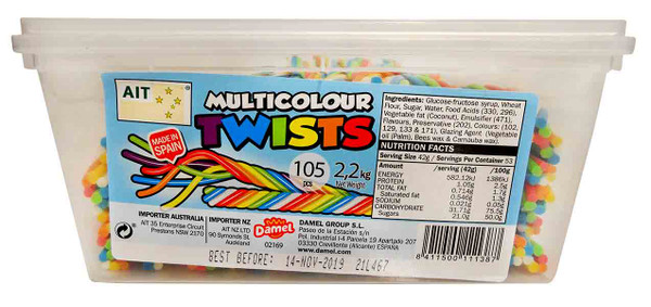 AIT Multicolour Twists, by Damel,  and more Confectionery at The Professors Online Lolly Shop. (Image Number :12734)