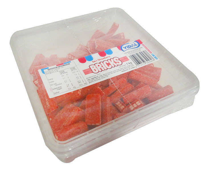 Vidal Sour Strawberry Bricks, by vidal,  and more Confectionery at The Professors Online Lolly Shop. (Image Number :11633)