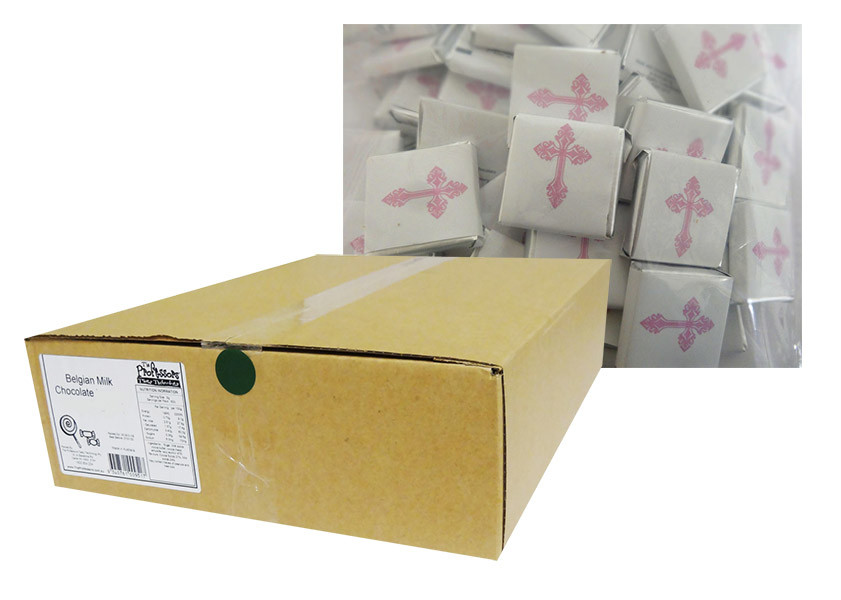 Belgian Wrapped Chocolate - Bulk - Ornate Pink Cross and more Confectionery at The Professors Online Lolly Shop. (Image Number :12301)