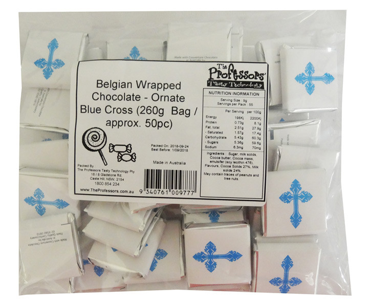 Belgian Wrapped Chocolate - Ornate Blue Cross and more Confectionery at The Professors Online Lolly Shop. (Image Number :12273)