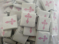 Belgian Wrapped Chocolate - Ornate Pink Cross and more Confectionery at The Professors Online Lolly Shop. (Image Number :11708)