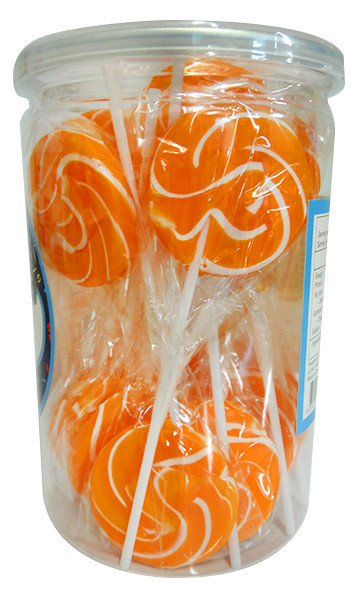 Candy Showcase Swirly Pops - Orange and White, by Lolliland,  and more Confectionery at The Professors Online Lolly Shop. (Image Number :11741)