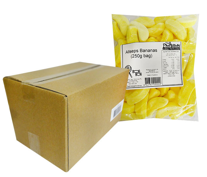 Allseps Bulk Bananas, by Betta Foods,  and more Confectionery at The Professors Online Lolly Shop. (Image Number :12113)