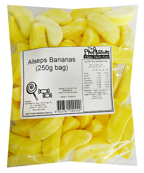 Allseps Bulk Bananas, by Betta Foods,  and more Confectionery at The Professors Online Lolly Shop. (Image Number :12114)