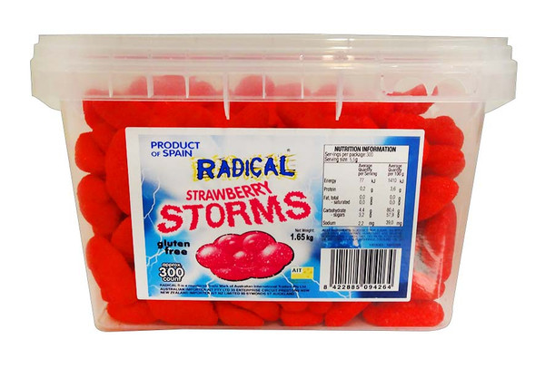 Radical Storms - Strawberry, by AIT Confectionery,  and more Confectionery at The Professors Online Lolly Shop. (Image Number :11597)