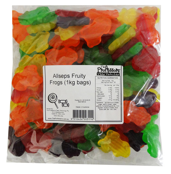 Allseps Bulk Fruity Frogs and more Confectionery at The Professors Online Lolly Shop. (Image Number :12833)