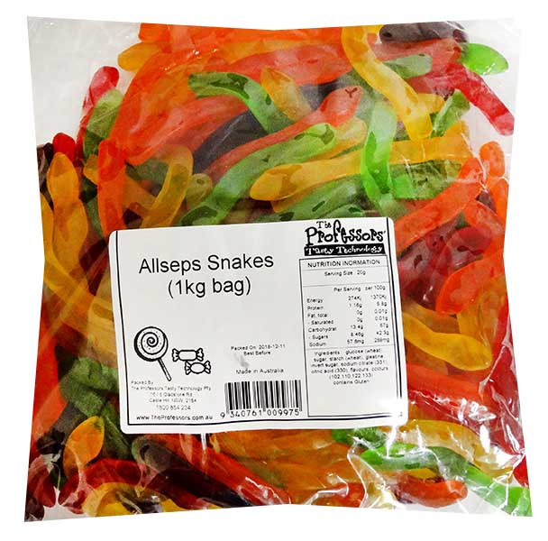 Allseps Snakes, by Allseps,  and more Confectionery at The Professors Online Lolly Shop. (Image Number :12121)