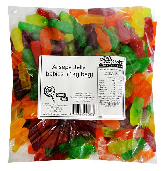 Allseps Jelly babies, by Allseps,  and more Confectionery at The Professors Online Lolly Shop. (Image Number :12116)