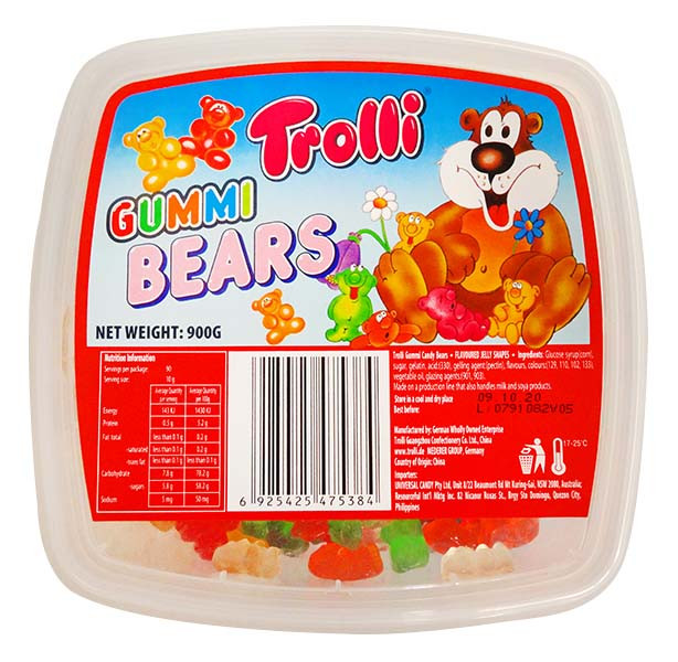 Trolli Gummi Bear Tub, by Trolli,  and more Confectionery at The Professors Online Lolly Shop. (Image Number :13032)