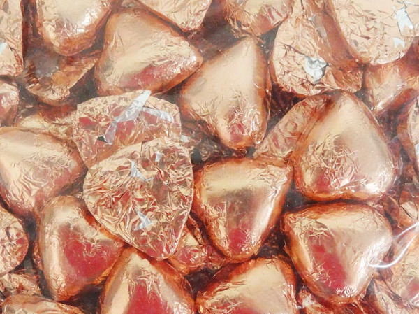 Belgian Milk Chocolate Hearts - Rose Gold and more Confectionery at The Professors Online Lolly Shop. (Image Number :12250)