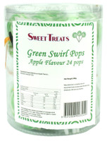 Sweet Treats swirl pop - Green, by Lolliland,  and more Confectionery at The Professors Online Lolly Shop. (Image Number :11904)