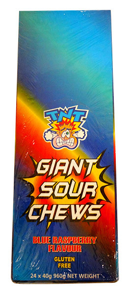 TNT Giant Sour Chew Bars - Blue Raspberry, by AIT Confectionery,  and more Confectionery at The Professors Online Lolly Shop. (Image Number :13718)