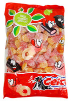 Gelco  Double Sour Peach Hearts and more Confectionery at The Professors Online Lolly Shop. (Image Number :13060)