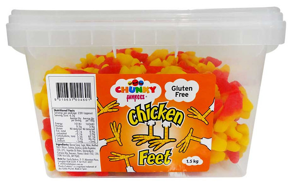 Chunky Funkeez Chicken Feet, by Candy Brokers,  and more Confectionery at The Professors Online Lolly Shop. (Image Number :12214)