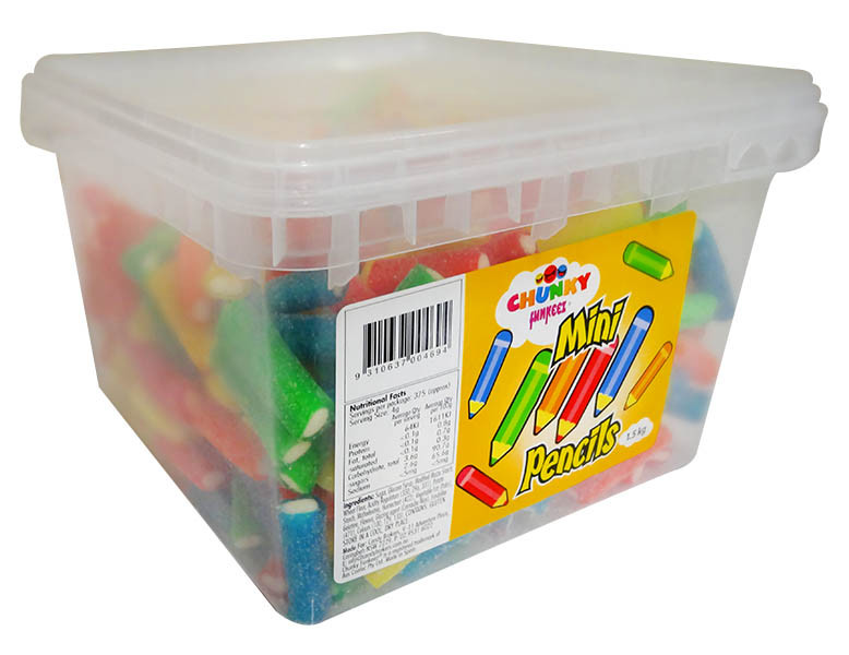 Chunky Funkeez Mini Pencils, by Candy Brokers,  and more Confectionery at The Professors Online Lolly Shop. (Image Number :12219)