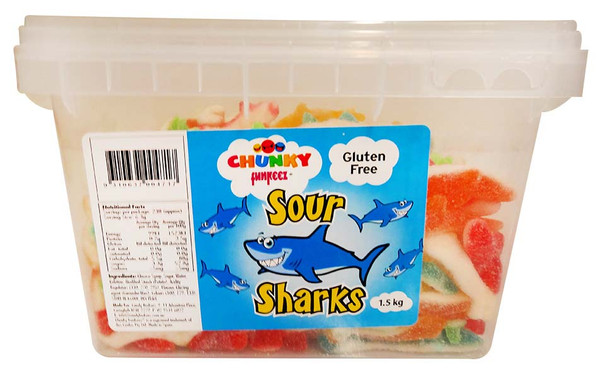 Chunky Funkeez Sour Sharks, by Candy Brokers,  and more Confectionery at The Professors Online Lolly Shop. (Image Number :12223)