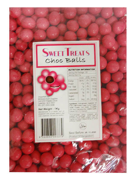Sweet Treats Choc Balls - Pink, by Brisbane Bulk Supplies,  and more Confectionery at The Professors Online Lolly Shop. (Image Number :12101)