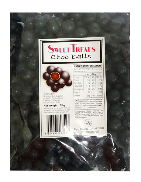 Sweet Treats Choc Balls - Black, by Brisbane Bulk Supplies,  and more Confectionery at The Professors Online Lolly Shop. (Image Number :12096)