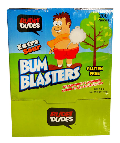 Rude Dudes -Bum Blaster Gum - Extra sour and more Confectionery at The Professors Online Lolly Shop. (Image Number :12095)