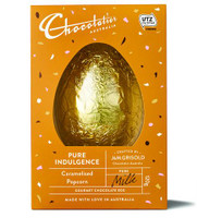 Chocolatier -  Caramelised Popcorn Milk Chocolate Egg and more Confectionery at The Professors Online Lolly Shop. (Image Number :12369)