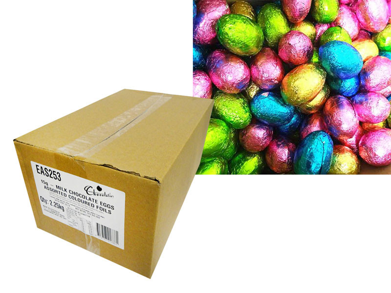 Chocolatier -  Foiled Hollow Milk Eggs Assorted Foil and more Confectionery at The Professors Online Lolly Shop. (Image Number :14568)