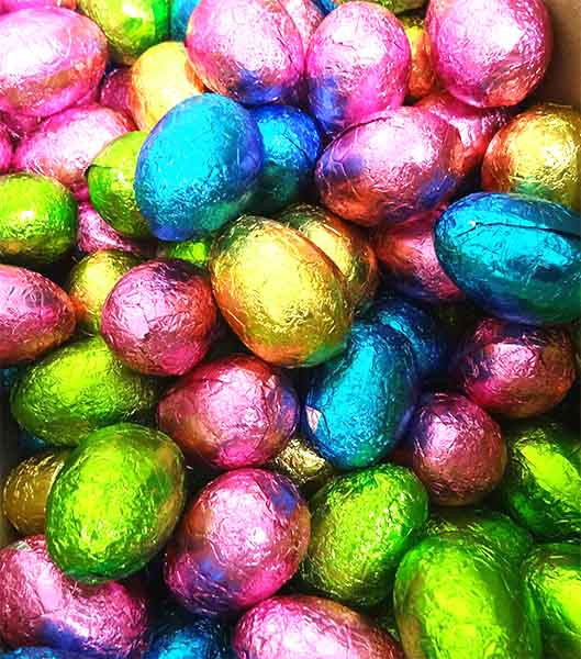 Chocolatier -  Foiled Hollow Milk Eggs Assorted Foil and more Confectionery at The Professors Online Lolly Shop. (Image Number :14570)