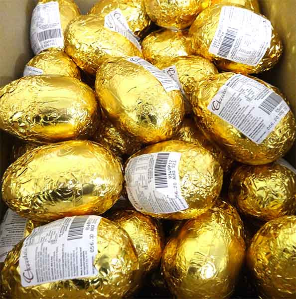 Chocolatier - Foiled Hollow Milk Eggs Gold and more Confectionery at The Professors Online Lolly Shop. (Image Number :14572)
