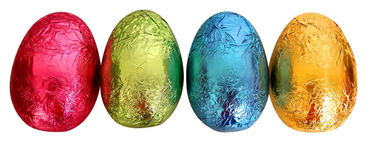 Chocolatier -   Foiled Hollow Milk Eggs Assorted Foil and more Confectionery at The Professors Online Lolly Shop. (Image Number :13933)