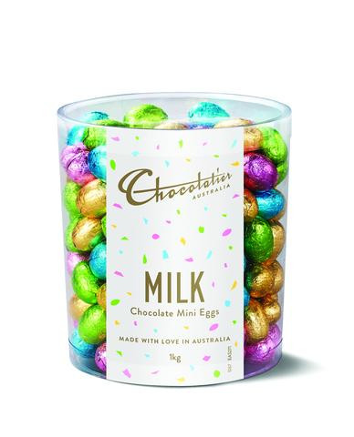 Chocolatier - Milk Chocolate Mini Eggs Assorted Foil and more Confectionery at The Professors Online Lolly Shop. (Image Number :12393)