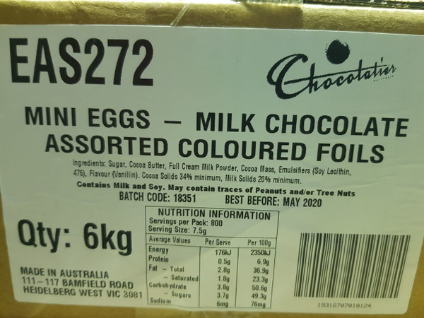 Chocolatier - Milk Chocolate Mini Eggs Assorted Foil - Bulk and more Confectionery at The Professors Online Lolly Shop. (Image Number :12524)