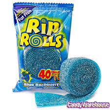 Sour Rip Rolls - Blue Raspberry and more Confectionery at The Professors Online Lolly Shop. (Image Number :12506)
