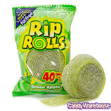 Sour Rip Rolls - Green Apple and more Confectionery at The Professors Online Lolly Shop. (Image Number :12510)