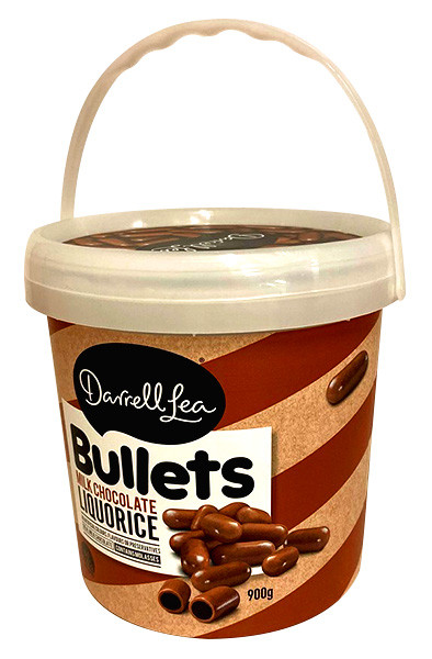 Darrell Lea Milk Chocolate Liquorice Bullets Gift Tub, by Darrell Lea,  and more Confectionery at The Professors Online Lolly Shop. (Image Number :13512)
