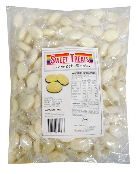 Sweet Treats Sherbet Shots - White, by Brisbane Bulk Supplies,  and more Confectionery at The Professors Online Lolly Shop. (Image Number :13265)