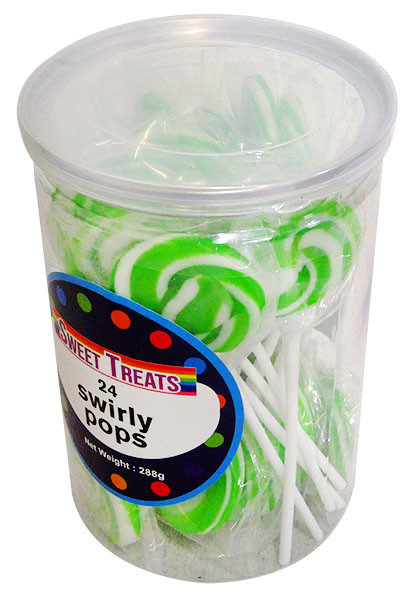 Sweet Treats Swirly Pops - Green, by Brisbane Bulk Supplies,  and more Confectionery at The Professors Online Lolly Shop. (Image Number :13269)