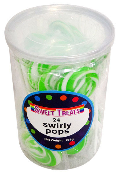 Sweet Treats Swirly Pops - Green, by Brisbane Bulk Supplies,  and more Confectionery at The Professors Online Lolly Shop. (Image Number :13270)