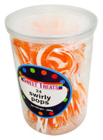 Sweet Treats Swirly Pops - Orange (24 x 12g in a tub)