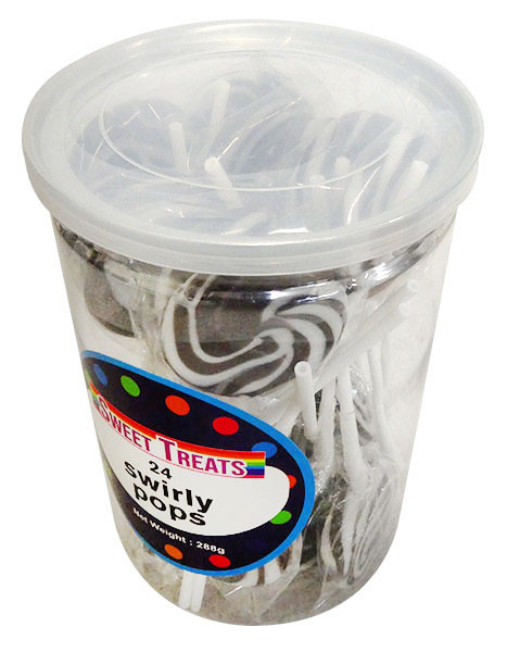 Sweet Treats Swirly Pops - Black, by Brisbane Bulk Supplies,  and more Confectionery at The Professors Online Lolly Shop. (Image Number :13267)