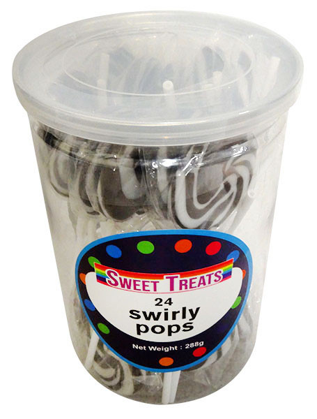 Sweet Treats Swirly Pops - Black, by Brisbane Bulk Supplies,  and more Confectionery at The Professors Online Lolly Shop. (Image Number :13268)