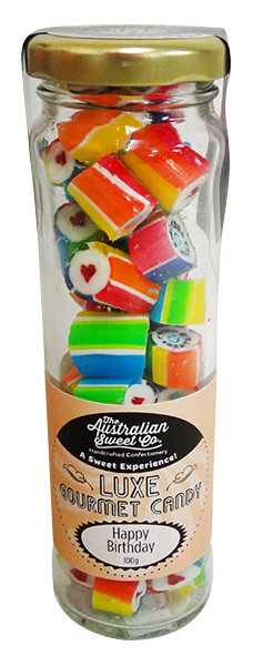 Happy Birthday - Luxe Rock Candy, by The Australian Sweet Company,  and more Confectionery at The Professors Online Lolly Shop. (Image Number :12951)