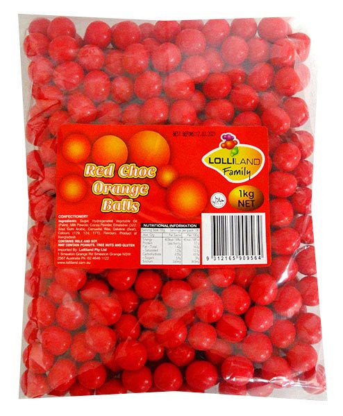 Lolliland Choc Balls - Red with Orange Flavour, by Lolliland,  and more Confectionery at The Professors Online Lolly Shop. (Image Number :13161)