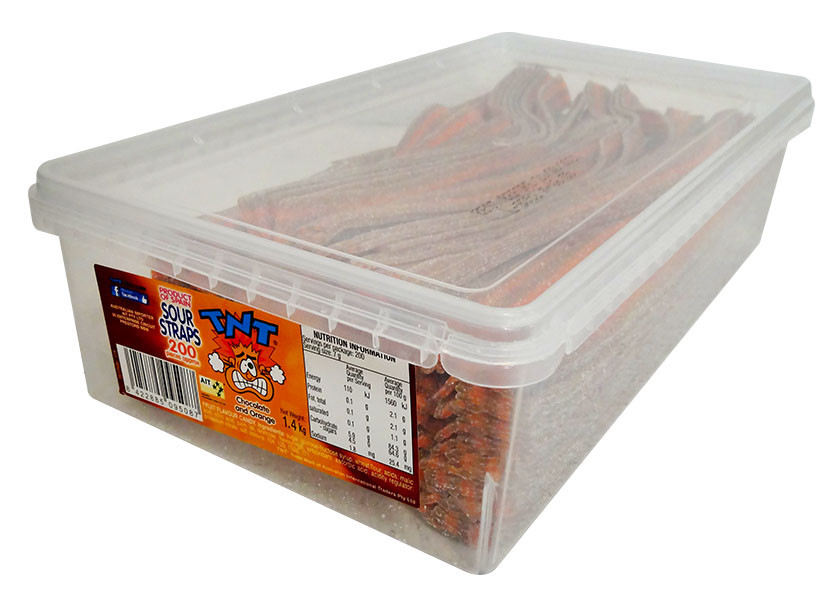 Tnt Sour Straps - Choc Orange, by TNT,  and more Confectionery at The Professors Online Lolly Shop. (Image Number :13025)