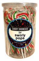 Candy Showcase Swirly Pops - Red, Green & White and more Confectionery at The Professors Online Lolly Shop. (Image Number :13507)
