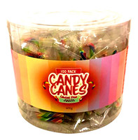 Mini Rainbow Candy Canes - Fruit Flavour (100 Pce Tub)