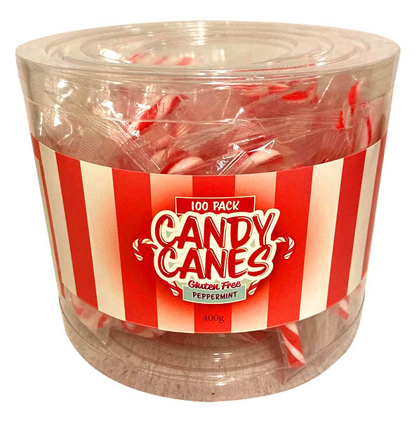 Mini  Candy Canes - Peppermint Flavour and more Confectionery at The Professors Online Lolly Shop. (Image Number :13522)