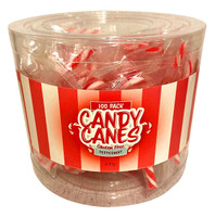 Mini  Candy Canes - Peppermint Flavour (100 Pce Tub)