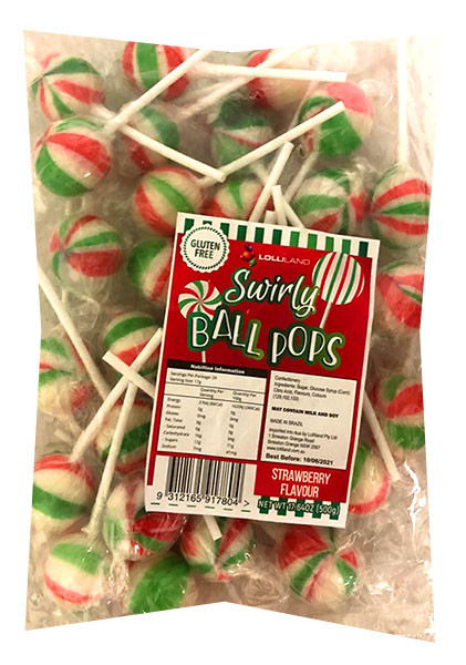 Lolliland Chirstmas Swirly Ball Pops and more Confectionery at The Professors Online Lolly Shop. (Image Number :13513)
