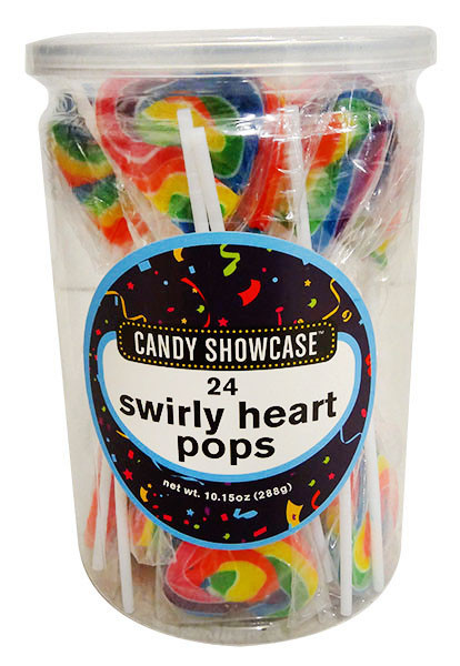 Candy Showcase Swirly Heart Pops - Rainbow and more Confectionery at The Professors Online Lolly Shop. (Image Number :13105)