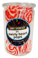 Candy Showcase Swirly Heart Pops - Red (24 x 12g in a tub)