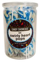 Candy Showcase Swirly Heart Pops - Blue (24 x 12g in a tub)